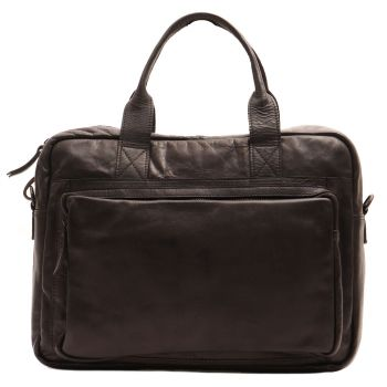 "GIANNI CONTI - Black Leather 14"" Laptop Briefcase"