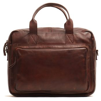 "GIANNI CONTI - Brown Leather 14"" Laptop Briefcase"
