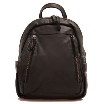 GIANNI CONTI Black Leather Woman Backpack