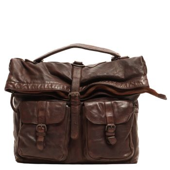 Man bag with shoulder strap Portability in Leather Backpack Brown - Gianni Conti