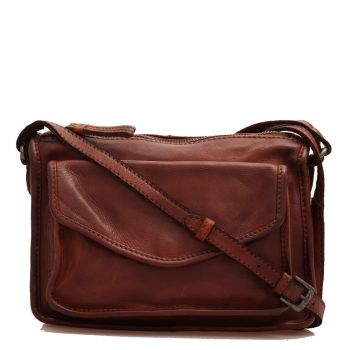 GIANNI CONTI - Brown Chocolate Leather Crossbody Bag with Zip Fastening