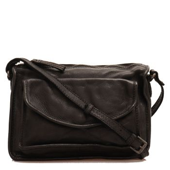 GIANNI CONTI - Black Leather Crossbody Bag with Zip Fastening
