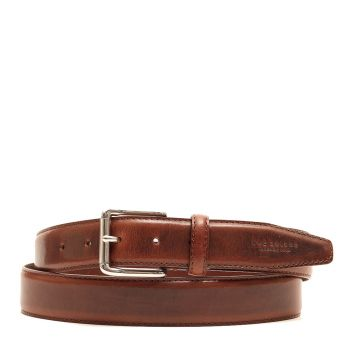 THE BRIDGE Passpartout Line - Brown Leather Belt with Silver Buckle 110cm h 3,5cm Made in Italy