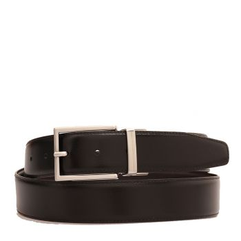 THE BRIDGE Story Line - Double Face Black and Brown Leather Belt with Silver Buckle110cm Made in Italy