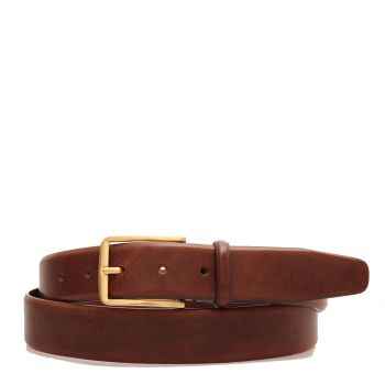 THE BRIDGE Story Line - Brown Leather Belt with Gold Buckle 3,5cm 110cm Made in Italy