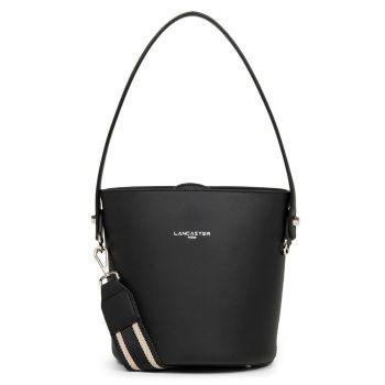 LANCASTER City Line - Black Leather Bucket Bag with Flap