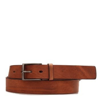 THE BRIDGE Story Line - Tobacco Leather Belt with Buckle 110cm h 3,5cm Made in Italy