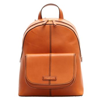 THE BRIDGE Faentina Line - Cognac Leather Backpack Made in Italy