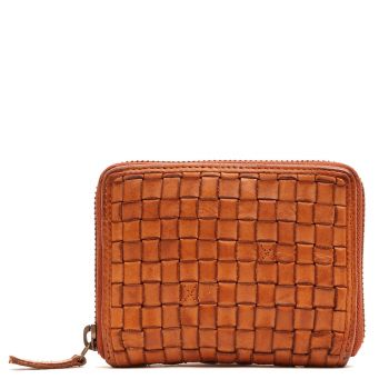 GIANNI CONTI - Small Tan Fabric and Leather Zip Around Wallet