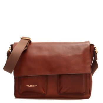 THE BRIDGE Story Line - Brown Leather Messenger Bag with Pockets Made in Italy