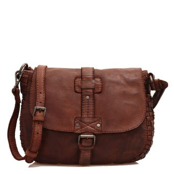 GIANNI CONTI - Brown Chocolate Leather Shoulder Bag with Strap