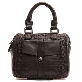 GIANNI CONTI - Black Leather Handbag with Shoulder Strap