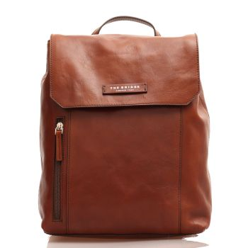 THE BRIDGE Passpartout Line - Brown Leather Unisex Backpack Made in Italy