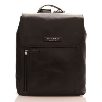 THE BRIDGE Passpartout Line - Black Leather Unisex Backpack Made in Italy