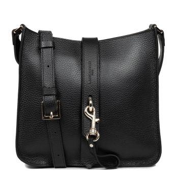 LANCASTER Foulonne Double Line - Black Leather Crossbody Bag
