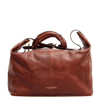 THE BRIDGE Story Viaggio Line - 45cm Brown Leather Carry-On Travel Bag Made in Italy