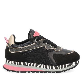 LIU JO Wonder 140 Line – Junior Black Mesh Suede Sneakers