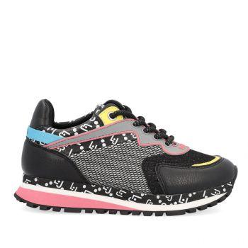 LIU JO Wonder 163 Line – Black Mesh Fabric Leather Sneakers for Kids