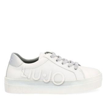 LIU JO Alicia 171 Line – Silver White Leather Sneakers with Maxi Logo