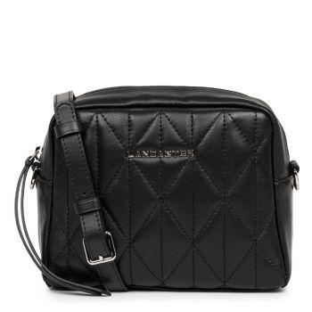 LANCASTER Parisienne Matelassè Line - Black Leather Crossbody Bag