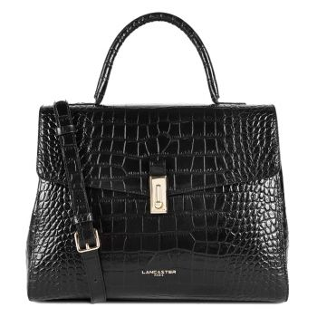 LANCASTER Exotic Croco Line - Black Leather Large Handle Bag