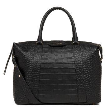 LANCASTER Exotic Croco Line - Black Matte Leather Large Handle Bag