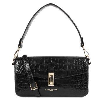 LANCASTER Exotic Croco Line - Black Leather Baguette Bag