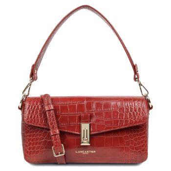 LANCASTER Exotic Croco Line - Red Leather Baguette Bag