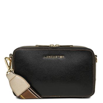 LANCASTER Saffiano Signature Line - Black and Camel Leather Crossbody Bag