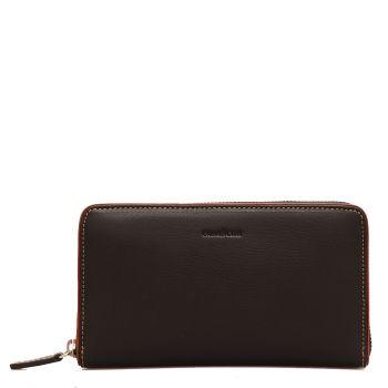 GIANNI CONTI - Black Leather Woman Zip Around Wallet
