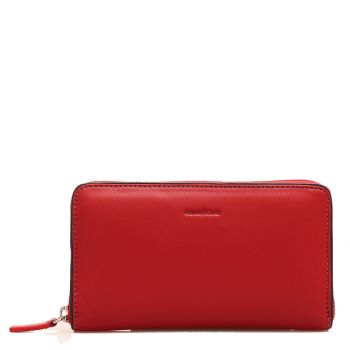 GIANNI CONTI - Red Leather Woman Zip Around Wallet