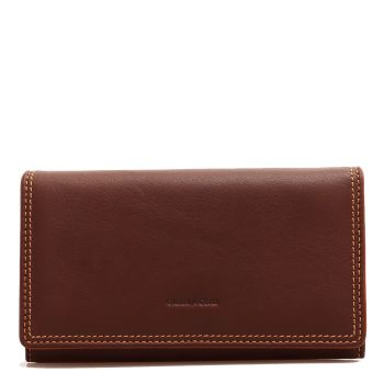 GIANNI CONTI - Brown Leather Woman Wallet with Button