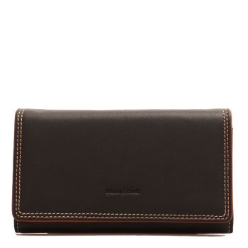 GIANNI CONTI - Black Leather Woman Wallet with Button