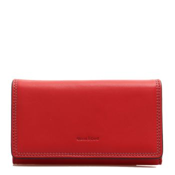 GIANNI CONTI - Red Leather Woman Wallet with Button