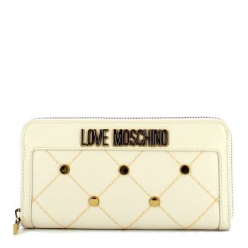 LOVE MOSCHINO Ivory Zip Around Wallet with Studs