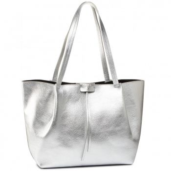 PATRIZIA PEPE Silver Leather Shopping Bag 2V8895
