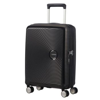 American Tourister Soundbox Bass Black - Cabin Size Expandable Hard Shell Trolley 55cm 4-wheel