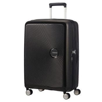 American Tourister Soundbox Bass Black - Medium Size Expandable Hard Shell Trolley 67cm 4 Wheels