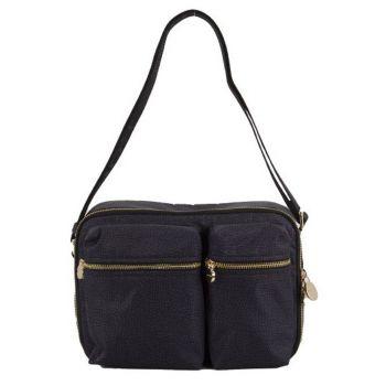 BORBONESE Cruise Jet Op Line – Black Fabric Shoulder Bag