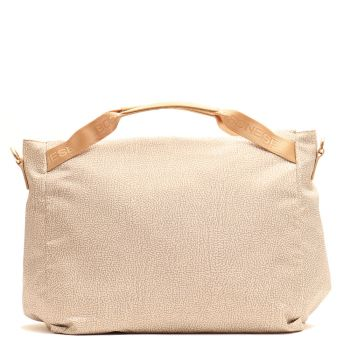 BORBONESE Jet Op Line - Beige Fabric Woman Handbag Large Size
