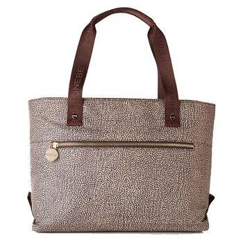 BORBONESE Jet Op Line – Large Natural Brown Leather Tote Bag