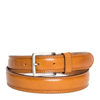 Belt Men Brushed Calf Skin Honey 3.5cm - Made in Italy