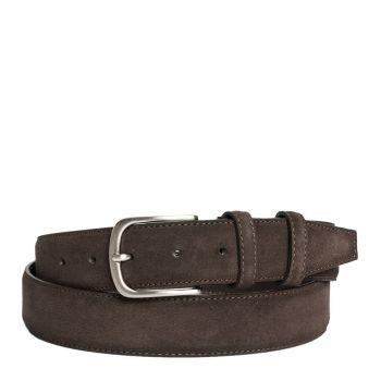 Belt Men Dark Brown Suede 3.5cm - Made in Italy
