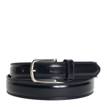 Belt Man in Blue 3.5cm Brushed Calf Leather - Made in Italy