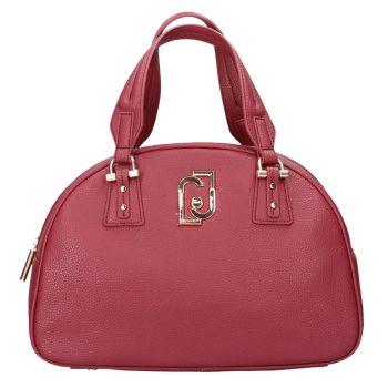 LIU JO Raspberry Red Bowling Bag with Logo