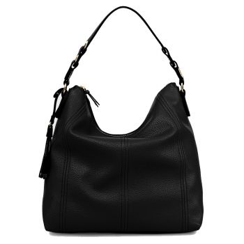 LIU JO Black Hobo Shoulder Bag with Tassel