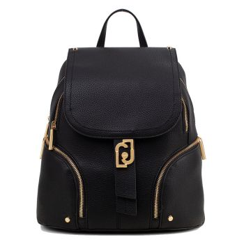 LIU JO Black Backpack with Flap and Logo