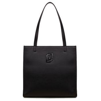 LIU JO Black Vertical Tote Bag with Logo