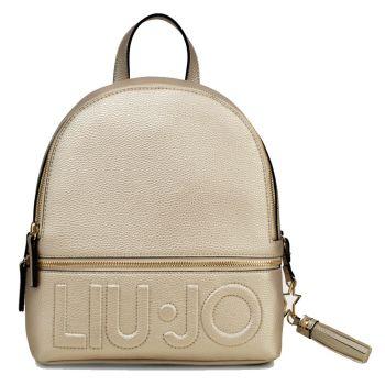 LIU JO Light Gold Backpack with Maxi Logo
