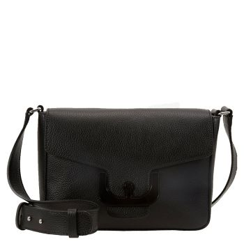 COCCINELLE Black Leather Woman Shoulder Bag Ambrine Cross Line